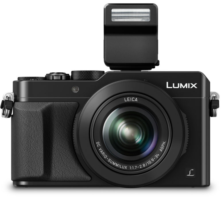 LUMIX LX100 Black Front with FL70 Flash