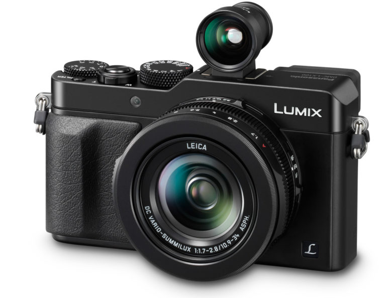 LUMIX LX100 Black Slanted with VF1 view finder