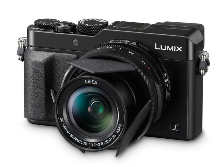 LUMIX LX100 Black slanted with LFAC1 On