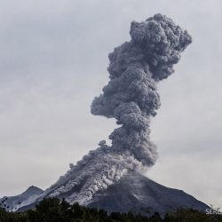 5km ash column and Pyroclastic flows of Colima Volcano in Mexico.