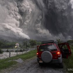 Pyroclastic flow from Colima Volcano in Mexico.