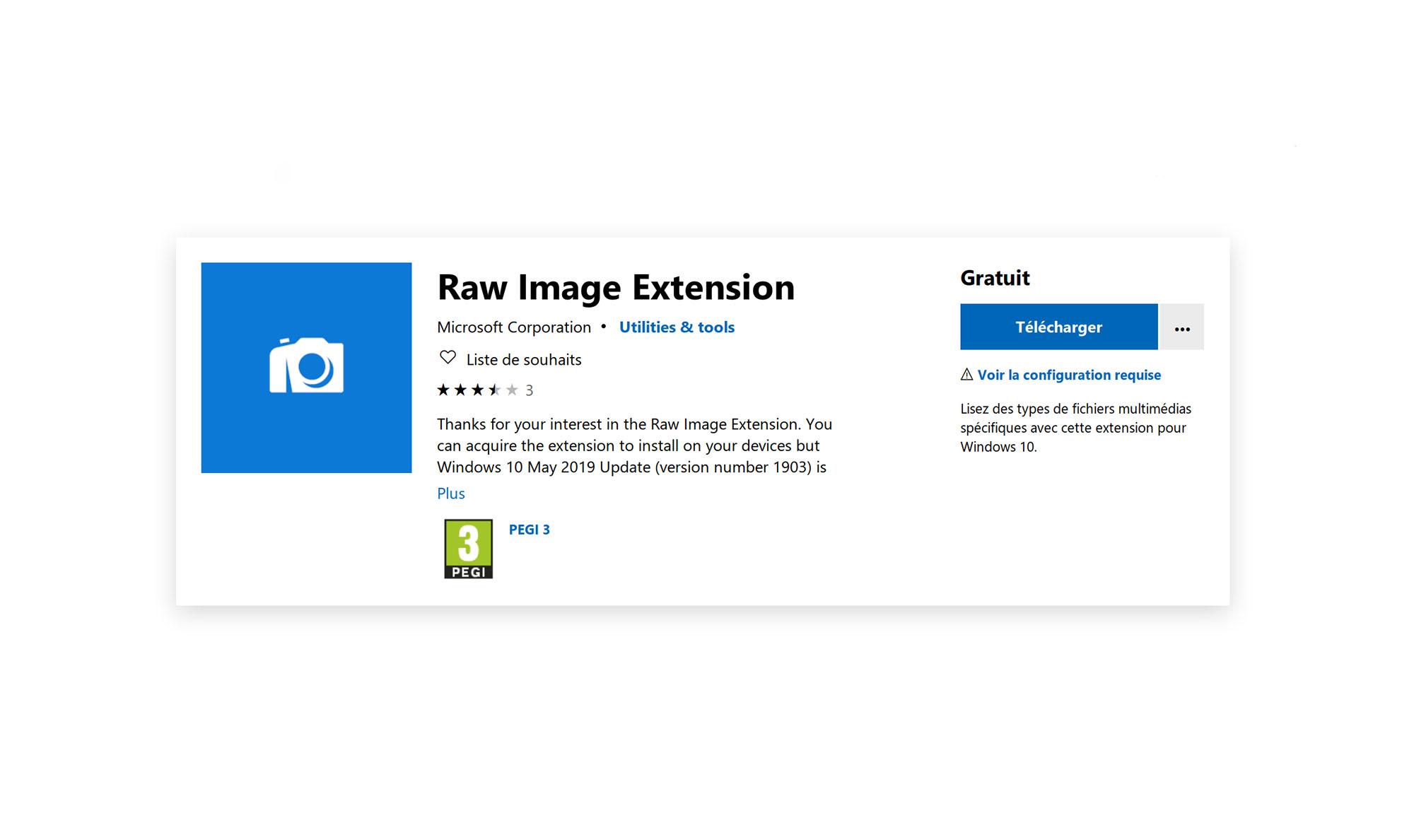 Raw Image Extension désormais disponible pour Windows 10