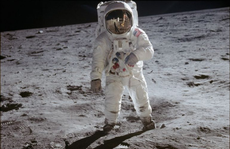 astronaut-buzz-aldrin-walks-on-lunar-surface-near-leg-of-lunar-module--nasa-