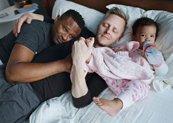 Harrison and Christopher with their daugther Genhi. Brooklyn, New York © Bart Heynen from 'Dads' published by powerHouse Books