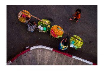 marché dans la rue, Rangoun (Myanmar)
