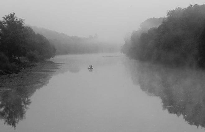 A fishing in the mist