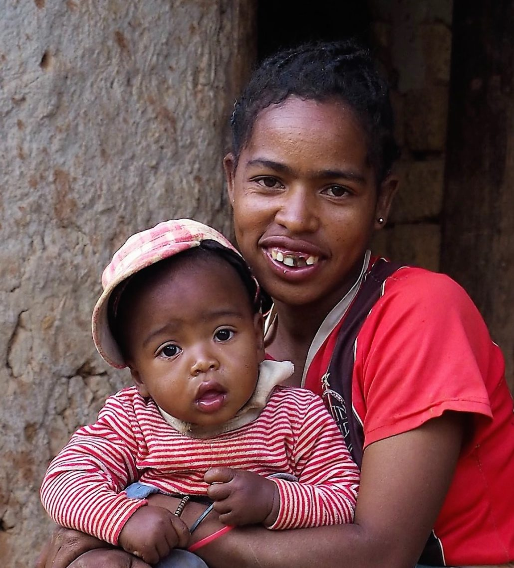Young Mom in a village in Madagascar