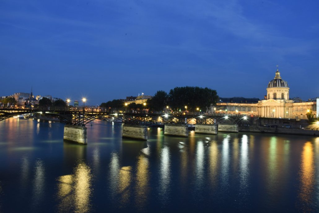 Paris by the river Seine by night