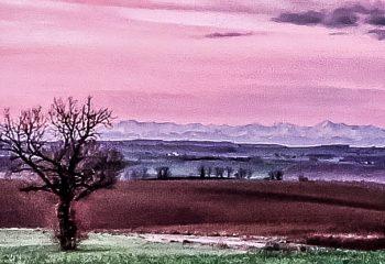 À l aube rosée ....au loin les Pyrénées