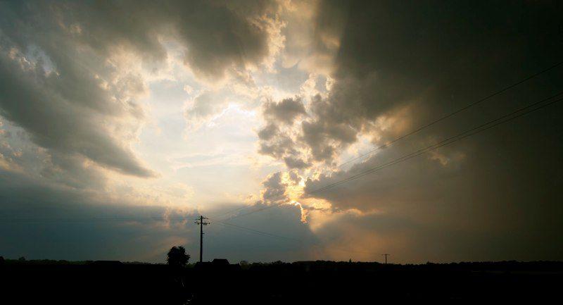 During the rain, the sun
