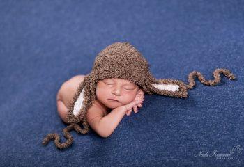 Photo bébé sur plaid bleu