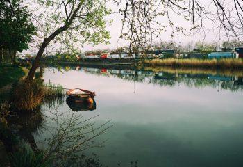 la barque et les conteneurs