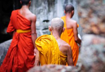 Moines bouddhistes à Preah Khan.
