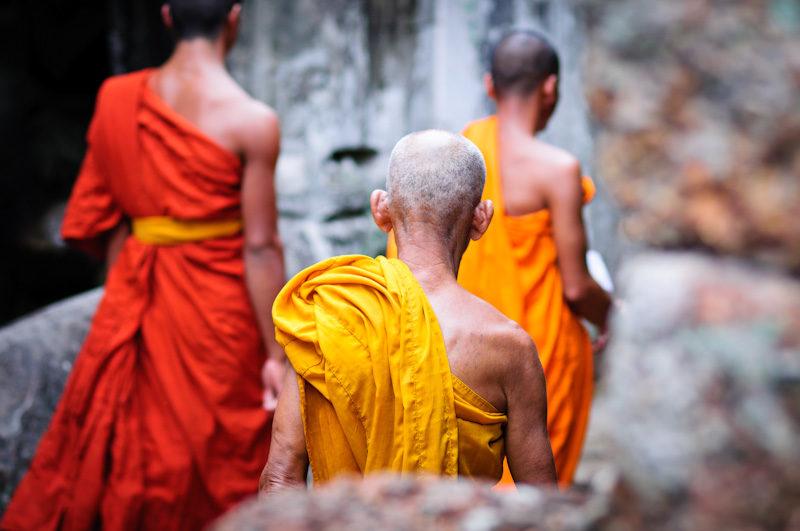 Moines bouddhistes au temple Preah Khan