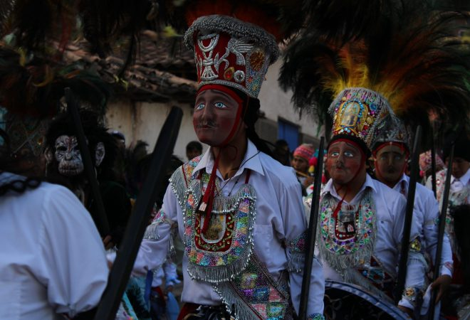 Fête religieuse, Pisac, Pérou.