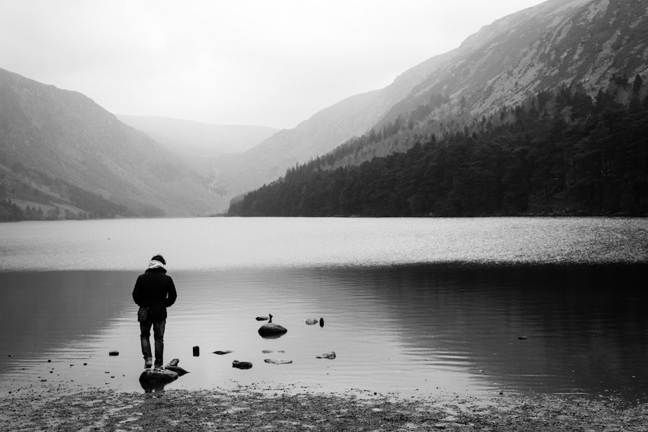 Young man and the lake