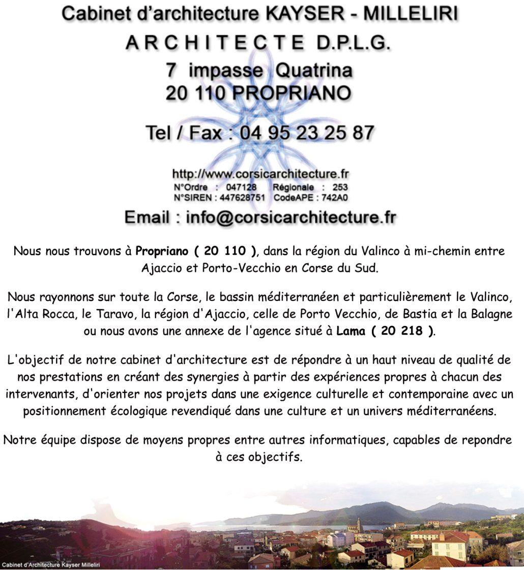 Cabinet d'Architecture Kayser milleliri, Architecte DPLG en Corse