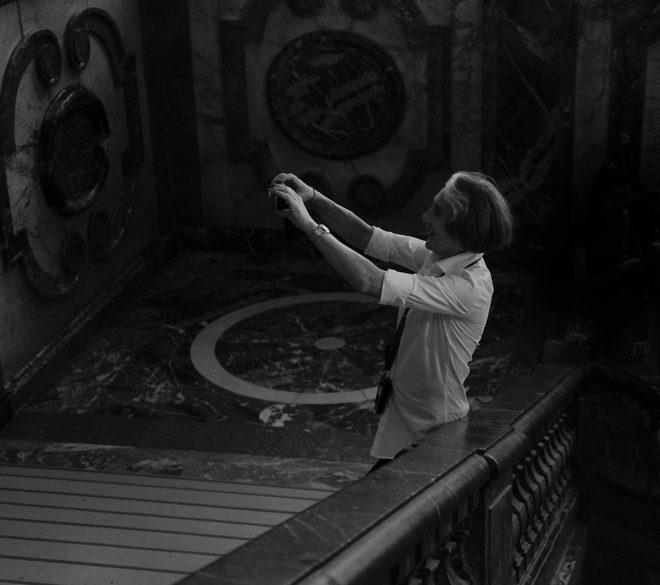 Selfie dans l'escalier