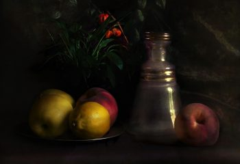 Nature morte fruits et carafe