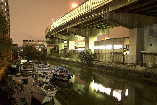 Boats under the highway