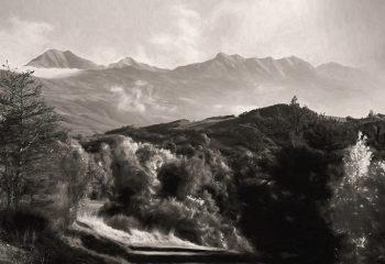 Vue de Piolit et Autanes depuis la route de Treschatel (Hautes-Alpes/France)