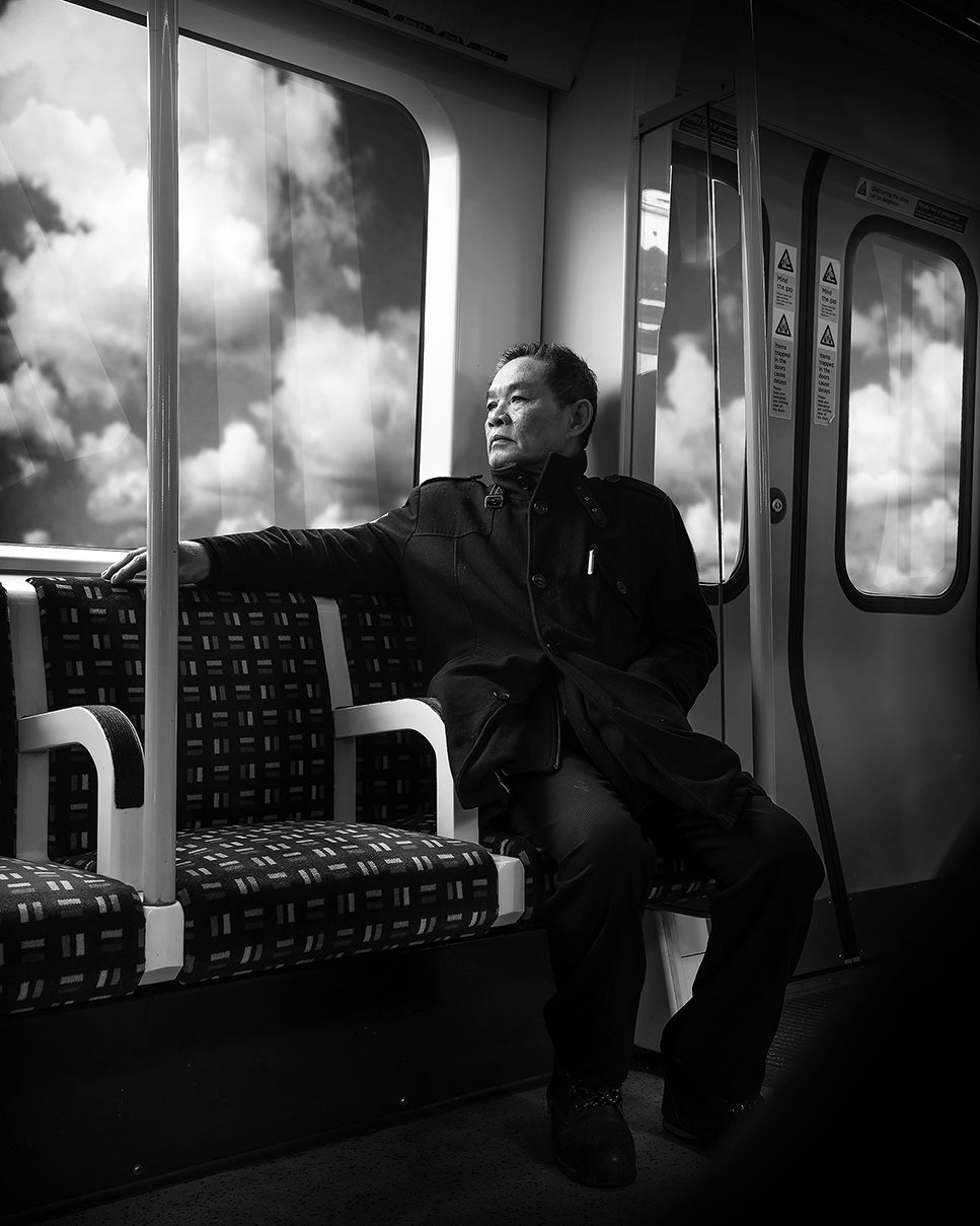 Man and cloud in tube