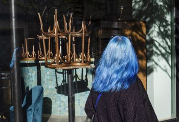 Behind blue hair