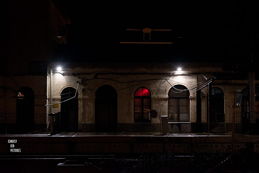 My old train station with red light